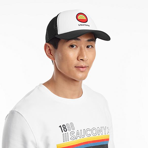 Jake Saucony Foam Trucker Hat, Black | White, dynamic