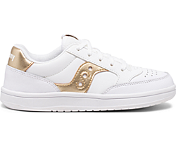 Jazz Court Sneaker, White | Gold, dynamic