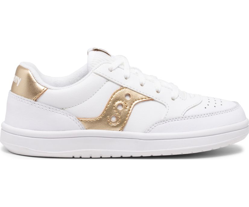 Jazz Court Sneaker, White | Gold, dynamic