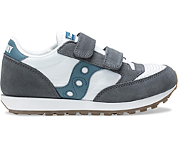 Jazz Original Vintage Hook & Loop Sneaker, Grey | White | Teal, dynamic