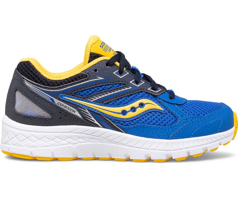 Cohesion 14 Lace Sneaker, Blue | Yellow, dynamic
