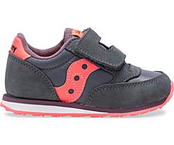 Baby Jazz Hook & Loop Sneaker, Dark Grey   Coral, dynamic