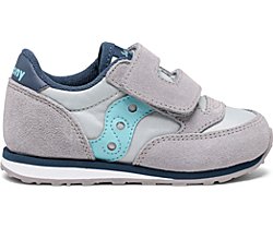 Big Kids Jazz Hook & Loop Sneaker, Grey | Light Blue, dynamic