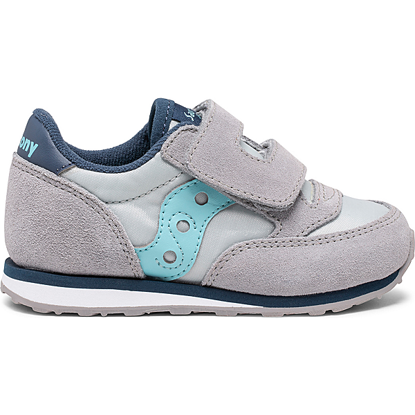 Jazz Hook & Loop Sneaker, Grey | Light Blue, dynamic