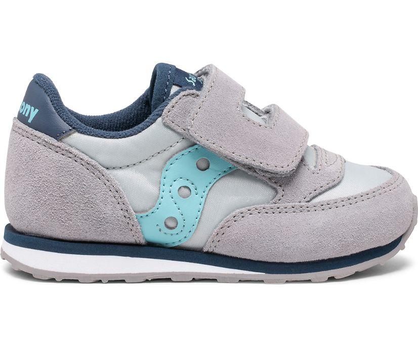 Baby Jazz Hook & Loop Sneaker, Grey | Light Blue, dynamic