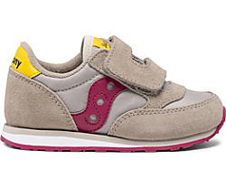 Big Kids Jazz Hook & Loop Sneaker, Taupe | Burgundy, dynamic