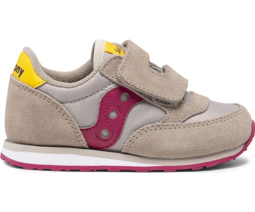 Baby Jazz Hook & Loop Sneaker, Taupe | Burgundy, dynamic