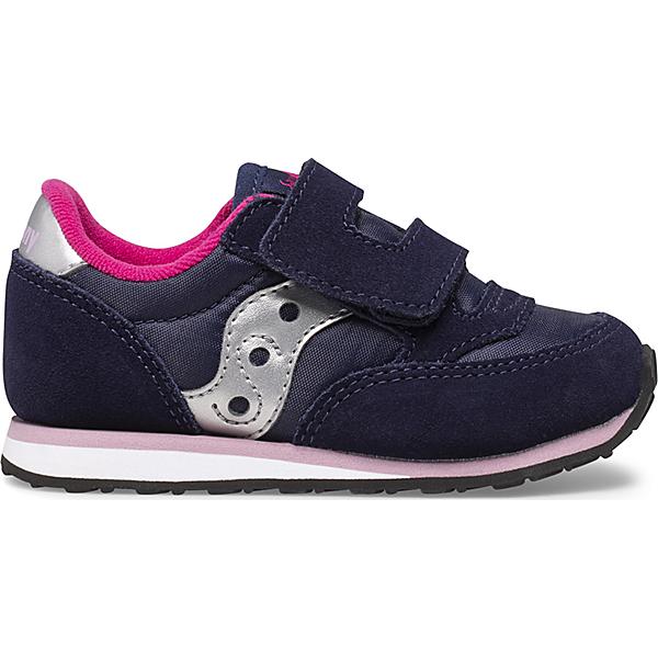 Baby Jazz Hook & Loop Sneaker, Navy | Pink, dynamic