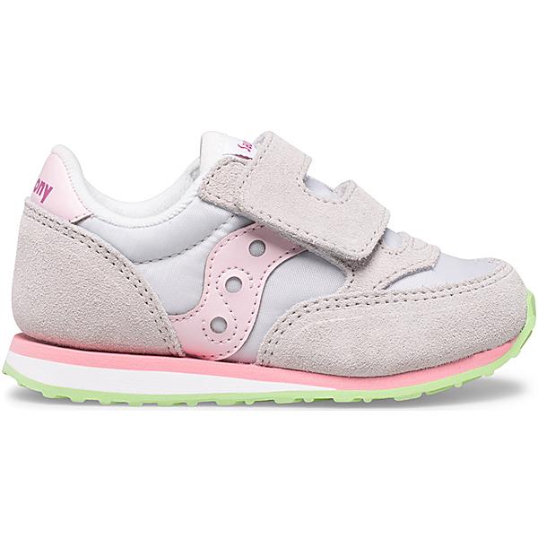 Baby Jazz Hook & Loop Sneaker, Grey | Pink | Green, dynamic
