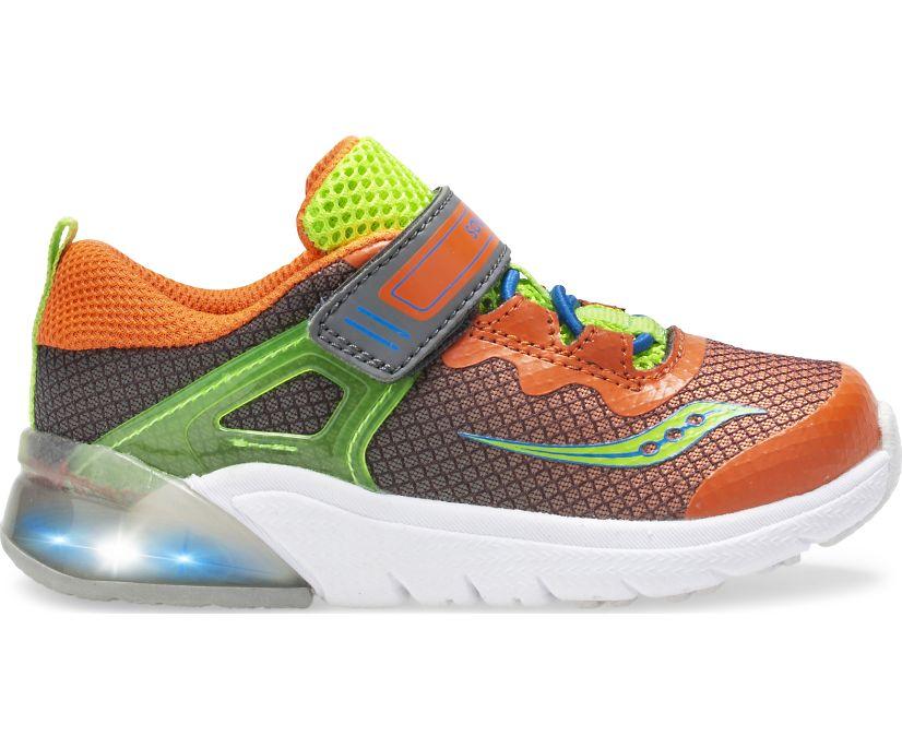 Flash Glow Jr. Sneaker, Grey | Green | Orange, dynamic