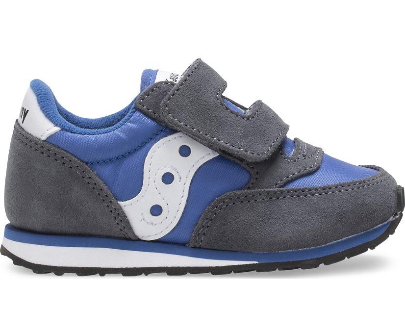 Big Kids Jazz Hook & Loop Sneaker, Grey | Blue, dynamic