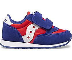 Big Kids Jazz Hook & Loop Sneaker, Red | White | Blue, dynamic