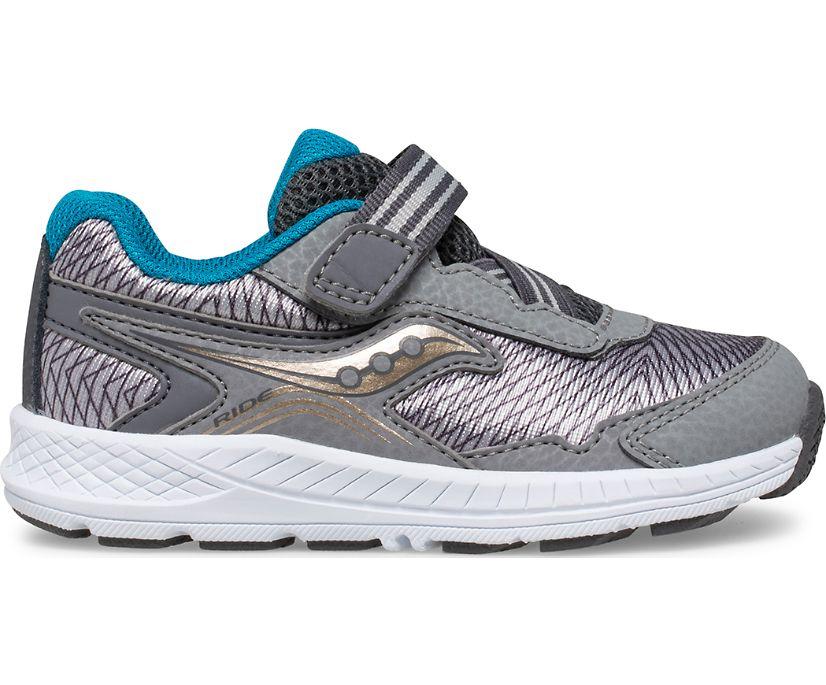 Ride 10 Jr. Sneaker, Grey | Blue | Gold, dynamic