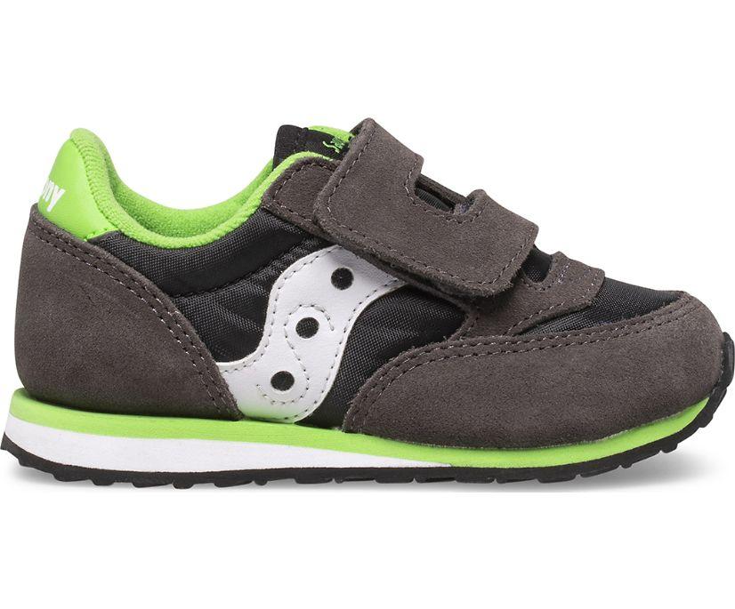 Baby Jazz Hook & Loop Sneaker, Grey | Black | Green, dynamic