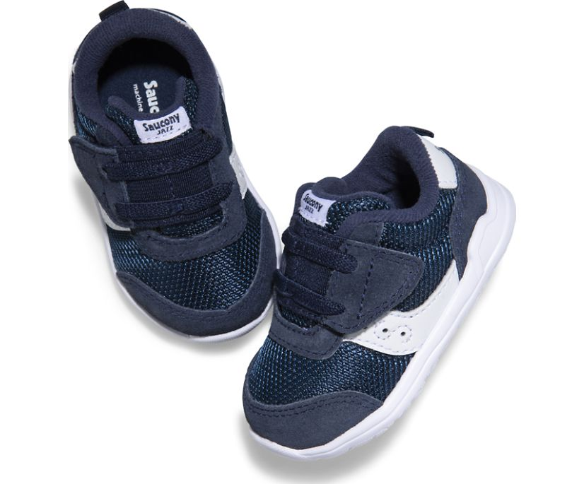 Jazz Riff Crib Sneaker, Navy | White, dynamic