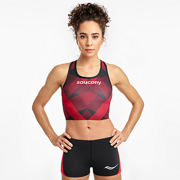 Saucony Elite Crop Top, Black | Red, dynamic