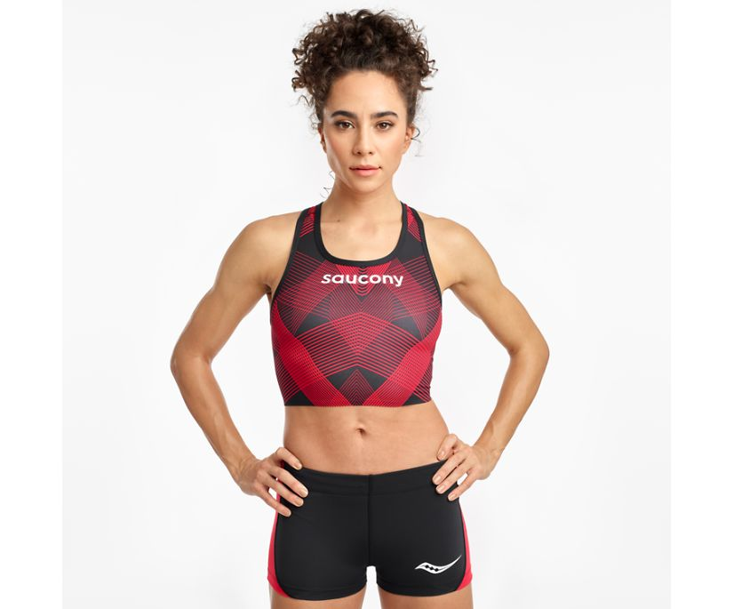 Saucony Elite Crop Top, Black | Red, dynamic