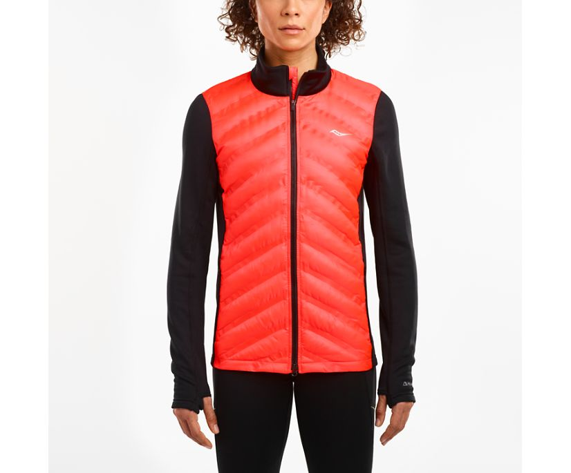 Bonded Baffle Hybrid Jacket, Black | ViZi Red, dynamic