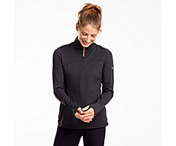 Challenge Quarter Zip, Black Heather, dynamic