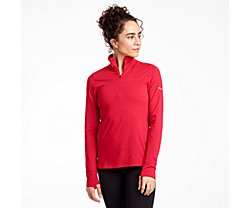 Challenge Quarter Zip, Saucony Red Heather, dynamic