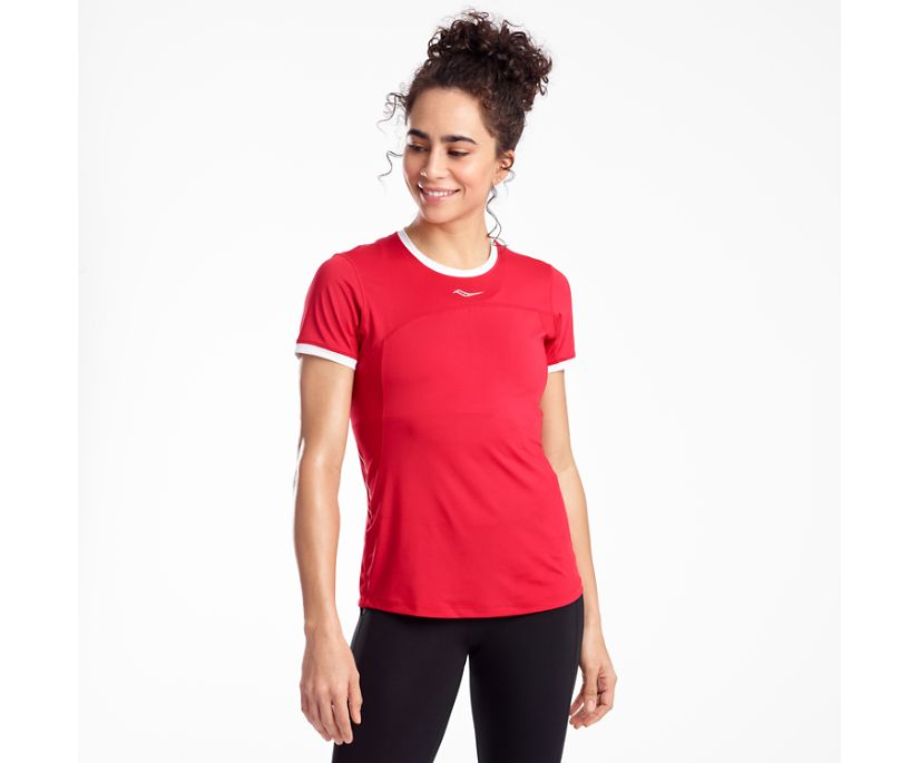 Drafty Short Sleeve, Saucony Red, dynamic