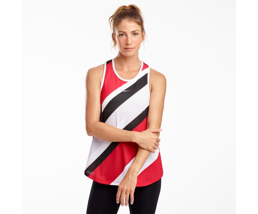 Tropic Racerback Tank, Saucony Red Print, dynamic