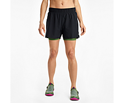 Dustcloud 2-1 Short, Black | Bronze Green, dynamic