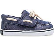 Intrepid Crib Boat Shoe, Navy/Rose Gold, dynamic