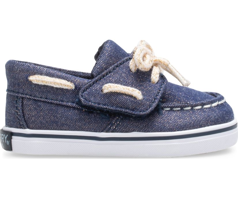 Intrepid Crib Boat Shoe, Navy/Rose Gold, dynamic