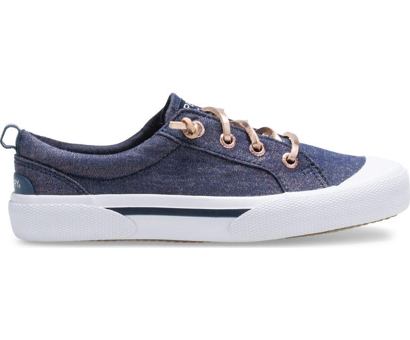 Pier Wave Sneaker, Navy/Rose Gold, dynamic
