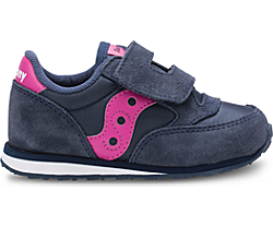 Baby Jazz Hook & Loop Sneaker, Navy/Pink, dynamic