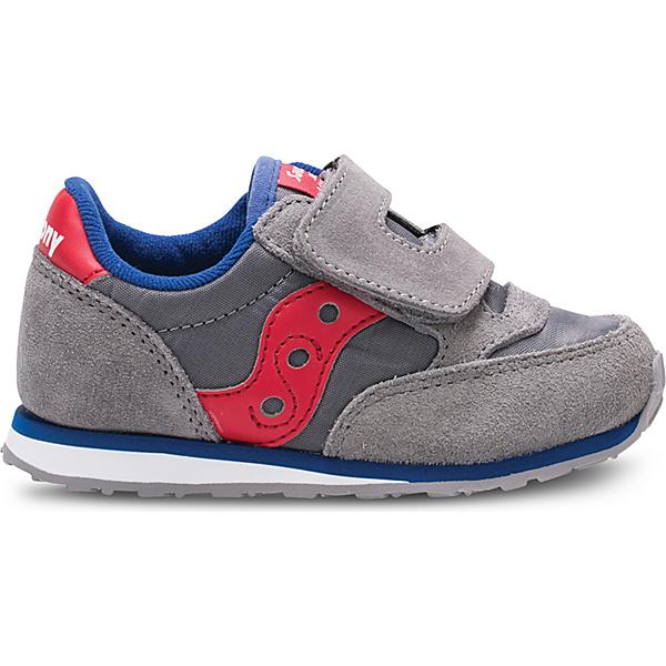 Baby Jazz Hook & Loop Sneaker, Grey/Red, dynamic