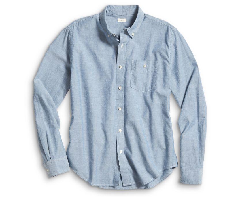 Long Sleeve Chambray Button Down Shirt, Blue, dynamic