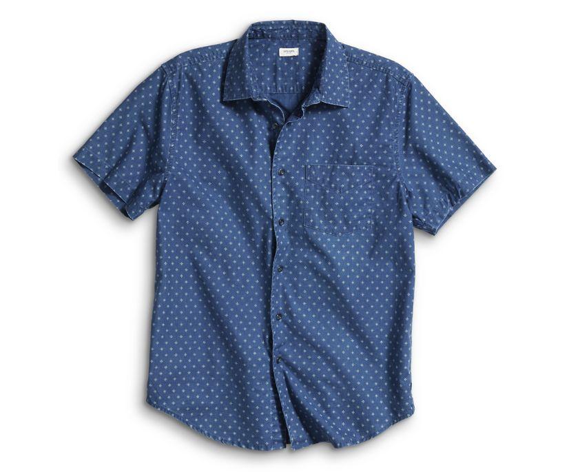 Short Sleeve Calico Foulard Indigo Shirt, Blue, dynamic