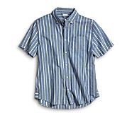Short Sleeve Indigo Stripe Shirt, Blue, dynamic