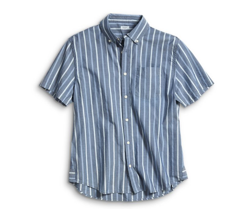 Short Sleeve Indigo Stripe Shirt, Blue, dynamic