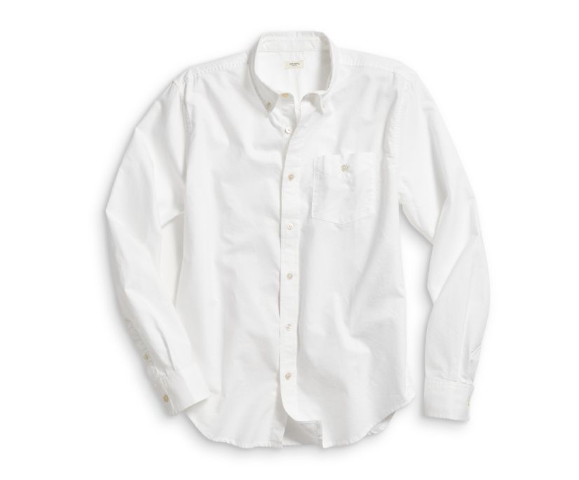 Long Sleeve Button Down Shirt, White, dynamic