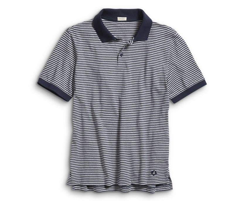Pique Polo, Navy Stripe, dynamic