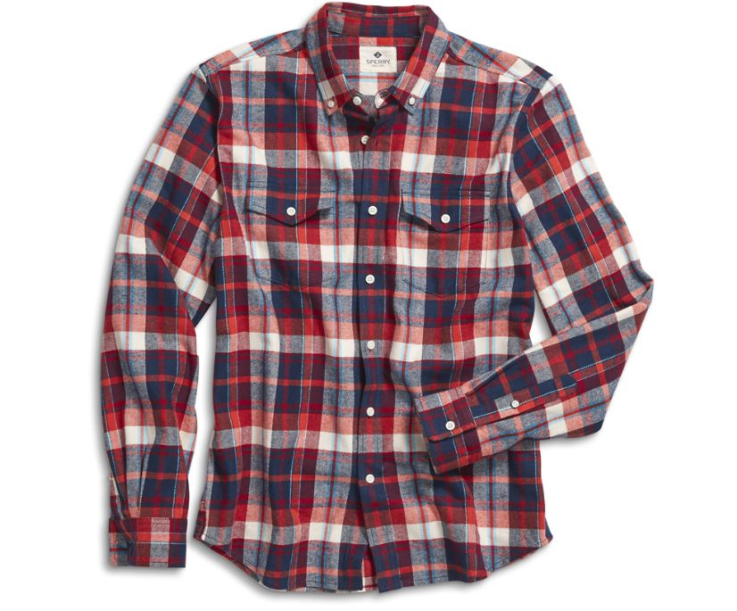 Camden Fresh Plaid Button Down Shirt, Red, dynamic