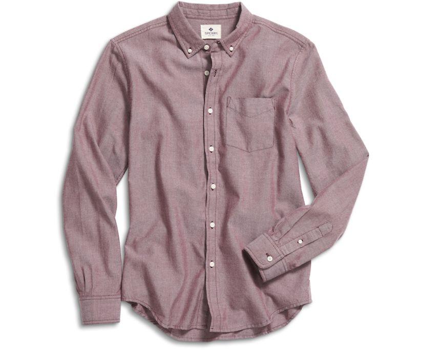 Long Sleeve Button Down Shirt, Burgundy, dynamic