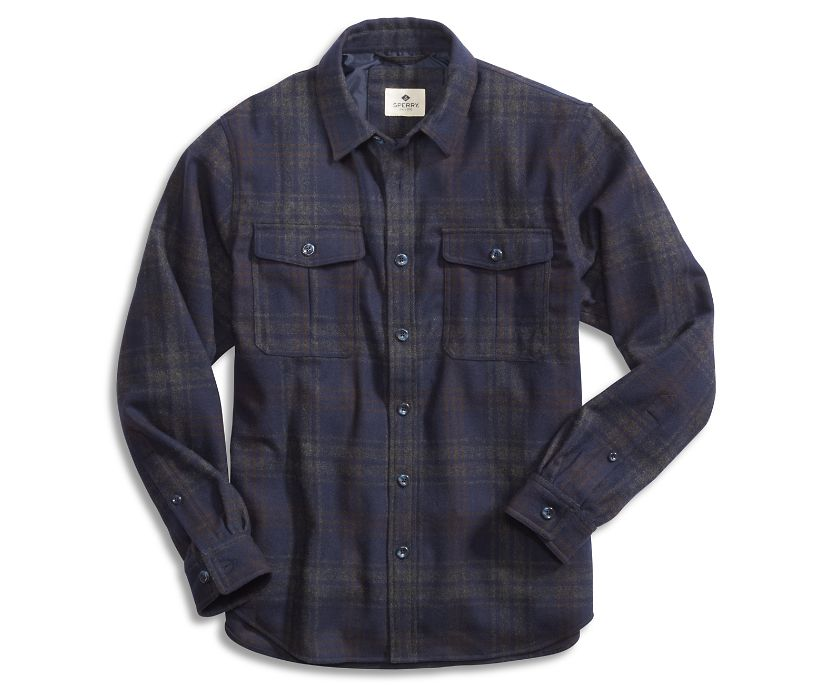 Wool CPO Shirt Jacket, Grey/Navy Plaid, dynamic