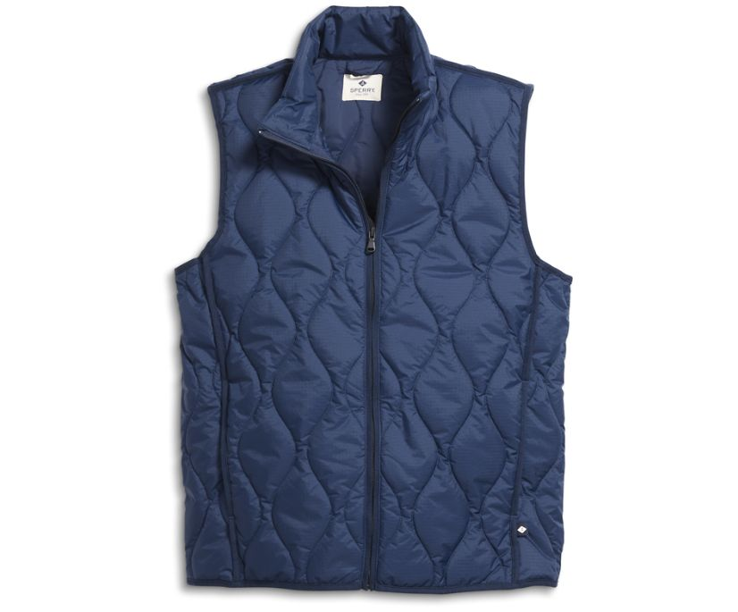 Quilted Vest, Navy, dynamic
