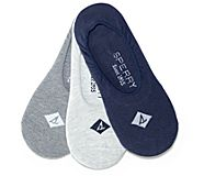 Cushioned Boat Shoe 3-Pack Liner Sock, Navy Assorted, dynamic