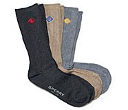 Ribbed Crew Sock 3-Pack, Black Heather Assorted, dynamic