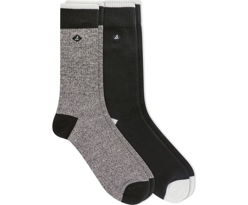 Twist Ragg 2-Pack Crew Sock, Black, dynamic