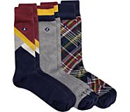 Men's Gift Box Crew Sock, Plaid/Color Block, dynamic