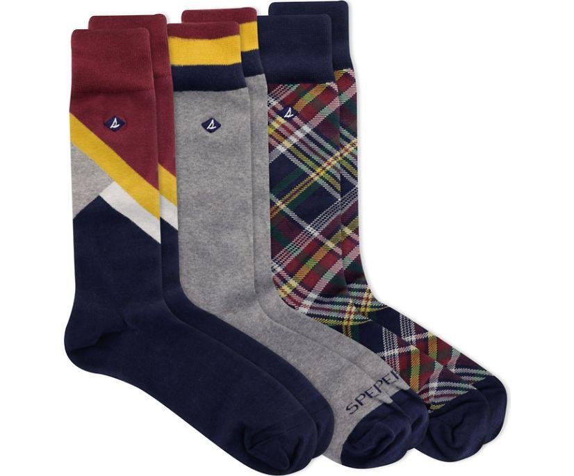 Men's Gift Box Crew Sock, Plaid/Color Block, dynamic