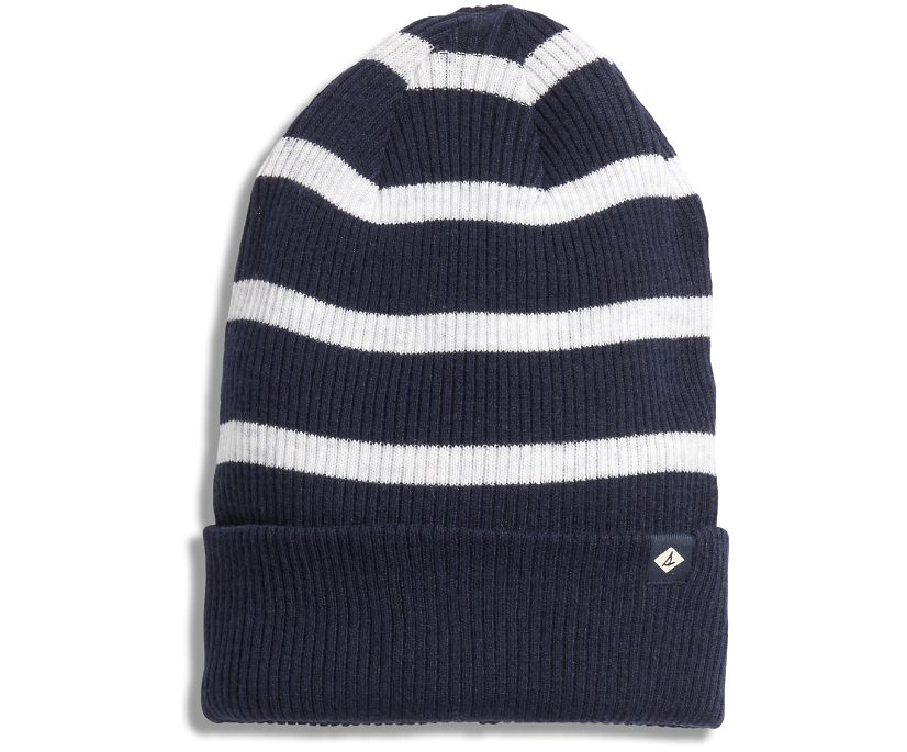 Rugby Stripe Beanie, Navy/White, dynamic