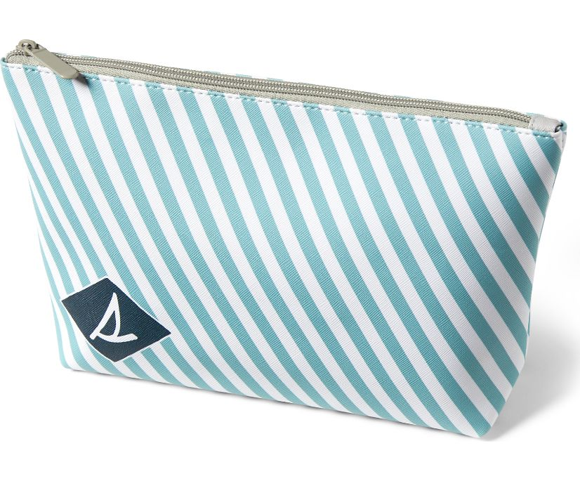 Striped Gusset Pouch, White, dynamic