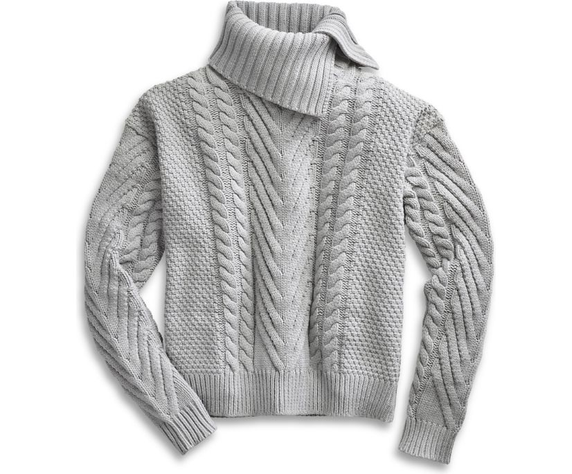 Cable Knit Sweater, Grey, dynamic